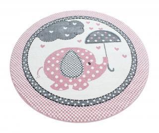 Koberec Elephant Round Pink 120 cm Ružová 120 cm