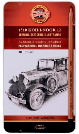 Koh-i-noor grafická sada TOISON D´OR souprava 12 grafitových tužek technických ART 8B - 2H v plechové krabičce