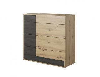 Komoda BAFRA 4S, dub artisan/černá borovice norská