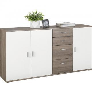 KOMODA, bílá, barvy lanýžového dubu, 160/82/35 cm - bílá, barvy lanýžového dubu 160/82/35