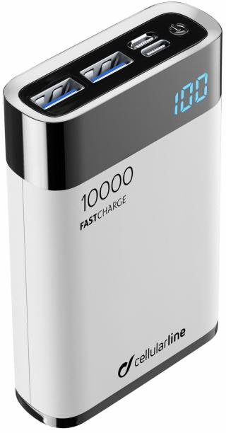 Kompaktní powerbanka Cellularline FreePower Manta HD 10000mAh bílá
