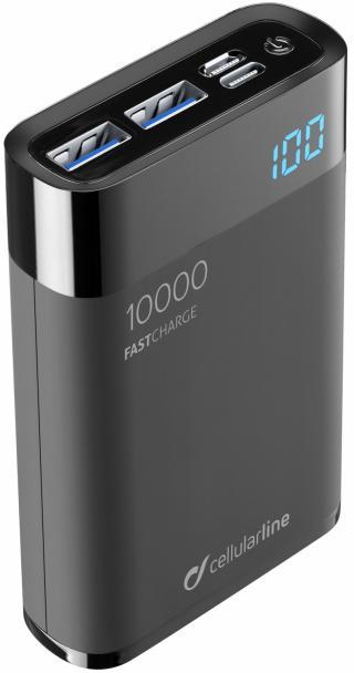 Kompaktní powerbanka Cellularline FreePower Manta HD 10000mAh černá