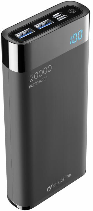 Kompaktní powerbanka Cellularline FreePower Manta HD 20000mAh černá