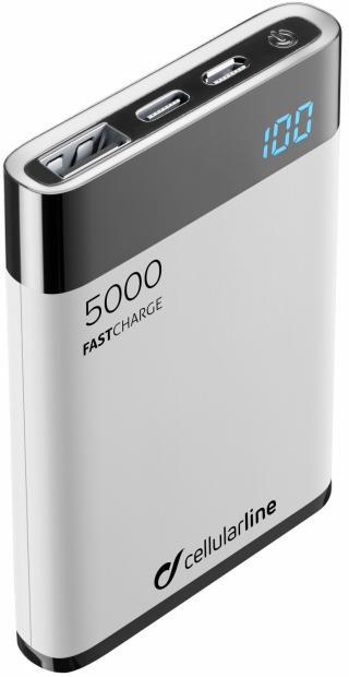Kompaktní powerbanka Cellularline FreePower Manta HD 5000 mAh bílá