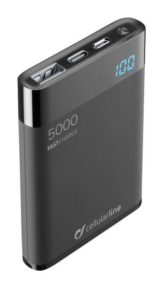Kompaktní powerbanka Cellularline FreePower Manta HD 5000 mAh černá