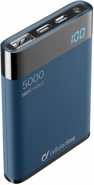 Kompaktní powerbanka Cellularline FreePower Manta HD 5000 mAh modrá