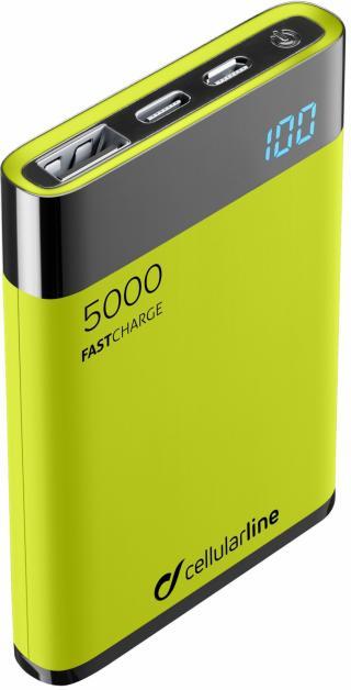 Kompaktní powerbanka Cellularline FreePower Manta HD 5000 mAh zelená