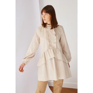Koton Beige Turtleneck Frilly Tunic Dress dámské 36