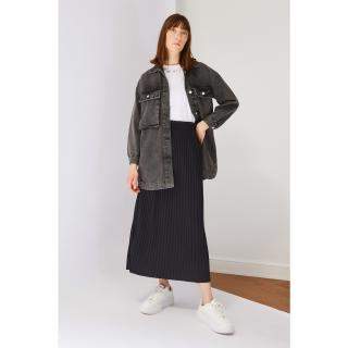 Koton Black Pleated Knit Skirt dámské L