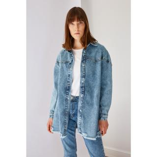 Koton Blue Stitch Detailed Denim Jacket dámské 38