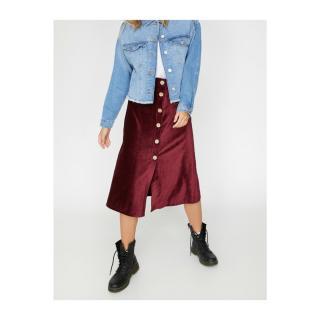 Koton Button Detail Velvet Midi Skirt dámské Claret Red L