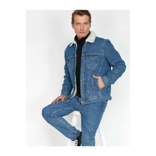 Koton Faux Fur Collar Jean Coat pánské BLUE S