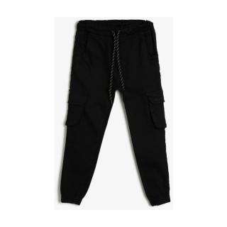 Koton Gabardine Fabric Jogger Pants with Cargo Pockets and Waist Cord pánské Black 999 5-6 Y