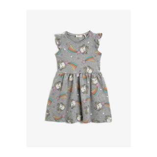 Koton Girl Unicorn Printed Ruffled Cotton Dress dámské Gray 7-8 Y
