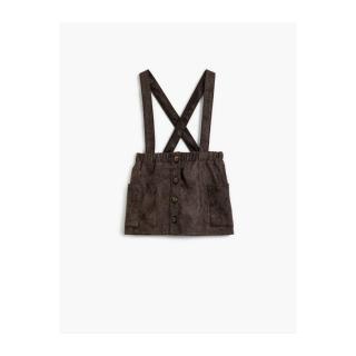Koton Girls Brown Glittery Pocket Buttoned Strap Regular Skirt dámské Other 4-5 Y