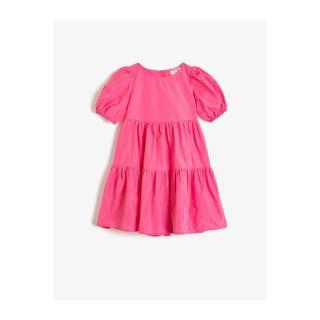 Koton Girls Crew Neck Short Sleeve Frilly Detailed Dress dámské Pink 7-8 Y