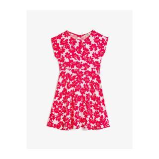 Koton Girls Pink Crew Neck Short Sleeve Floral Patterned Dress dámské 5-6 Y