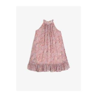 Koton Girls Pink Crew Neck Sleeveless Patterned Ruffle Detailed Dress dámské 4-5 Y