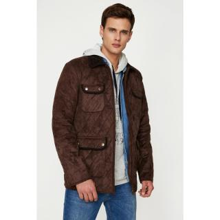 Koton Mens Brown Pocket Detailed Coat pánské Coffee S