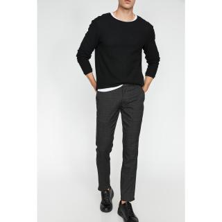 Koton Mens Gray Normal Waist Checkered Trousers pánské 42
