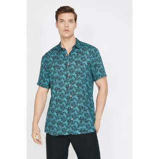 Koton Mens Green Patterned Shirt pánské M
