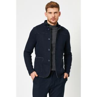 Koton Mens Navy Blue Button Detailed Jacket pánské 46
