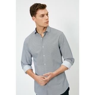 Koton Mens Navy Blue Classic Collar Shirt pánské L