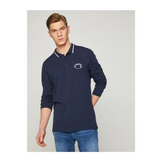 Koton Mens Navy Blue Embroidered Long Sleeve Polo Neck T-Shirt pánské M