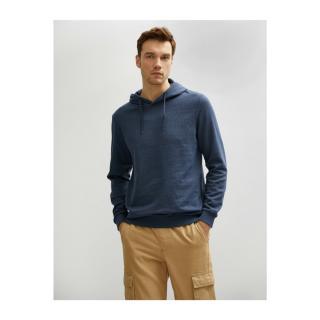 Koton Mens Navy Blue Hooded Cotton Long Sleeve Basic Sweatshirt pánské MEDIUM INDIGO XL