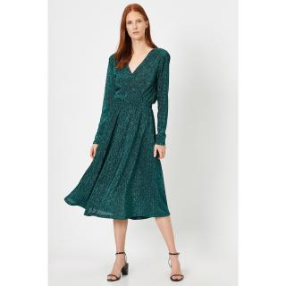 Koton Metallic Dress Evening Dress Pleated Waist Volaned Double Breasted Evening Dress dámské Other S