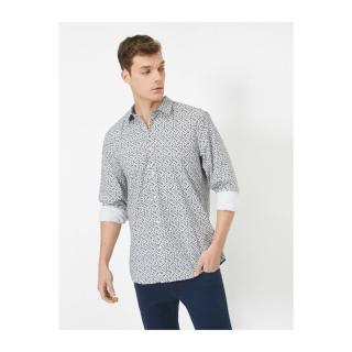 Koton Patterned Classic Collar Long Sleeve Shirt pánské White M