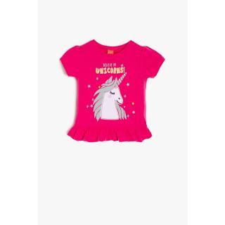 Koton Pink Baby Girl Printed T-Shirt dámské Other 9-12 AY
