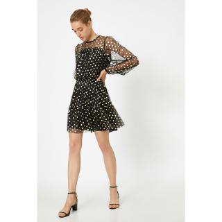 Koton Polka Dot Dress Evening Dress Mini Long Sleeve dámské Yellow S