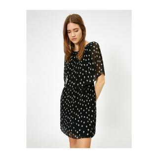 Koton Polka Dot Dress Evening Dress Siphon Pleated Cape Detailed Mini dámské Black 40