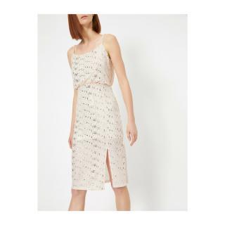 Koton Sequin Dress Evening Dress With Waist Pleated Slit Midi Boy Kamisol dámské Ecru XL