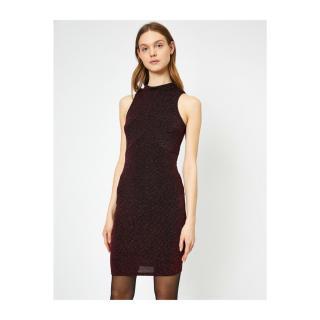 Koton Silvery Dress Evening Dress High Neck Sleeveless Mini dámské Red XL