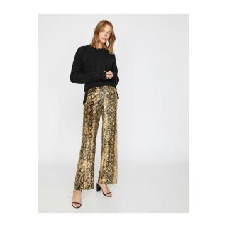 Koton Snakeskin Patterned Trousers dámské Coffee L