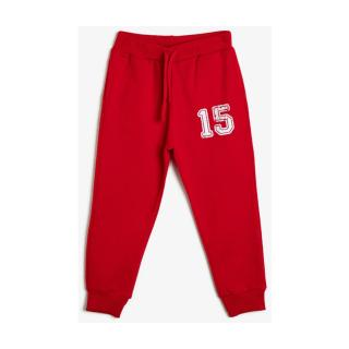 Koton Soft Feather Sweatshirt Fabric Ribbed Printed Jogger Bottoms pánské Red 3-4 Y