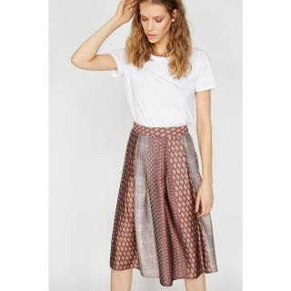Koton Women Brown Patterned Skirt dámské Coffee 36