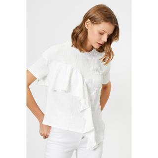 Koton Women Ecru Firfir Detailed T-Shirt dámské L