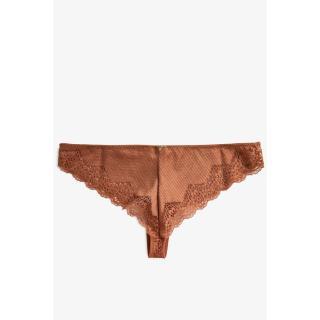 Koton Women Low Waist Brown Brazilian Panty dámské Coffee XS
