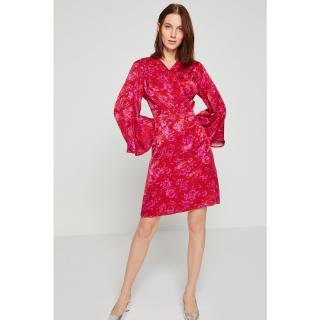 Koton Women Pink V Neck Mini Dress dámské 34
