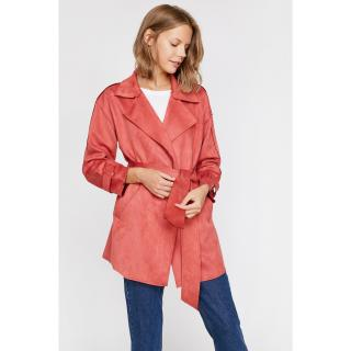 Koton Women Red Suede Look Trench Coat dámské 34