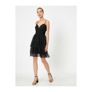 Koton Womens Black Thin Strap Open Back Tulle Mini Dress dámské Other XS