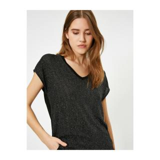 Koton Womens Black V-Neck T-Shirt dámské Black 999 L