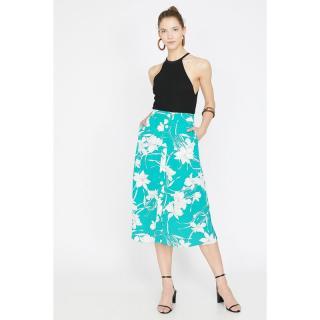 Koton Womens Blue Normal Waist Pocket Detailed Button Detailed Midi Skirt dámské Green 34