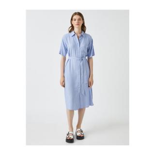 Koton Womens BLUE STRIPED Striped Dress Shirt Collar Short Sleeve Belted dámské Other 34