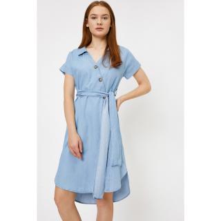 Koton Womens Blue V-Neck Short Sleeve Button Detail Midi Jean Dress dámské Mavi 34