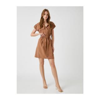 Koton Womens BROWN Shirt Collar Dress With Belt dámské Other 40