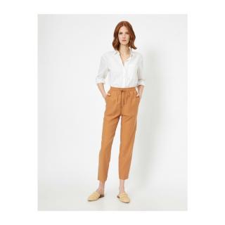 Koton Womens Brown Waist Tie Trousers dámské Other 34